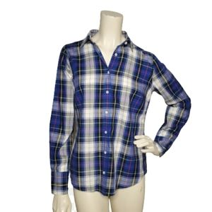 J Crew Perfect Shirt Size 4 Blue Plaid Button Down